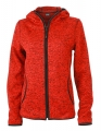 Damska bluza polarowa James Nicholson Knitted Fleece Red Melange Black.jpg