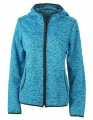 Damska bluza polarowa James Nicholson Knitted Fleece Blue Melange Black.jpg