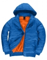 Męska kurtka firmowa z kapturem B&C Superhood JM940 Royal Blue Neon Orange.jpg
