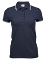 Koszulka polo damska Ladies Luxury Stripe Stretch Polo 1408 Navy White.jpg