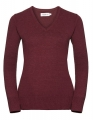 Damksi pulower Russel V-neck cranberry marl.jpg