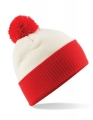 Czapka zimowa z pomponem Beachfield Snowstar® off white bright red.jpg