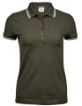 Koszulka polo damska Ladies Luxury Stripe Stretch Polo 1408 Olive White.jpg