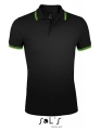 Koszulka polo męska Sol's Men´s Polo Shirt Pasadena 00577 Black Lime.jpg