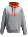 Bluza reklamowa z kapturem Just Hoods Varsity Hoodie JH003 Heather Grey Fire Red.jpg