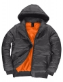 Męska kurtka firmowa z kapturem B&C Superhood JM940 Dark Grey Neon Orange.jpg