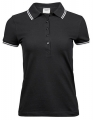 Koszulka polo damska Ladies Luxury Stripe Stretch Polo 1408 Black White.jpg